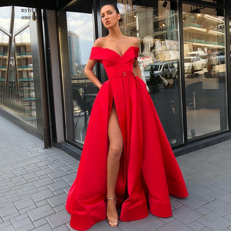 Cheap Long Evening Dress 2019 Sexy High Slit V-neck Cap Sleeve Arabic Style Dubai Women Floor Length Red Formal Evening Gowns Refreshment Weddings & Events