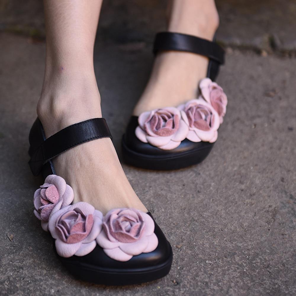 цена Artmu Summer New Slingback Women Shoes Famale Sandals Flower Shoes Women Handmade Leather Sandals chaussures femme sandali donna онлайн в 2017 году