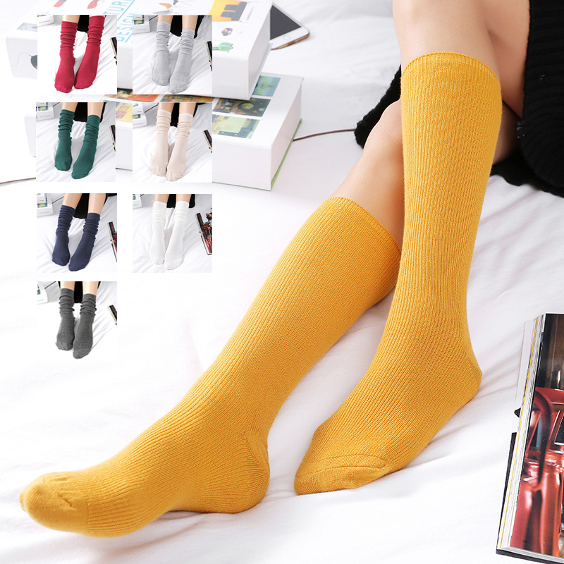Harajuku Vintage Cotton Socks Loose Long Socks For Women Girls Korean Yellow Purple Socks Candy Color Cute Clothing Accessories