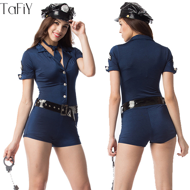 TaFiY Women Police Costume Halloween Jumpsuits Short Sleeve Blue Female Officer Cop Costume Uniform Party Sexy  sc 1 st  AliExpress.com & TaFiY Women Police Costume Halloween Jumpsuits Short Sleeve Blue ...