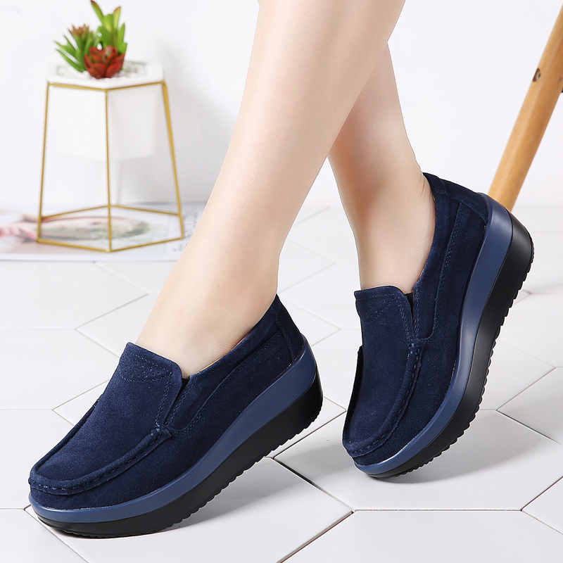 2019 Spring Women Flats Platform Shoes Ladies Sneakers   Suede     Leather   Slip on Classic Shoes for Women Moccasins Creepers 828