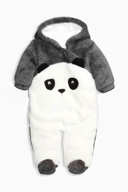 Crianças baby & baby Manga Longa Calças Compridas Terno Panda Padrão Impresso Estilo de Outono & inverno Engrossado Algodão Casual Quente com Casaco chapéu