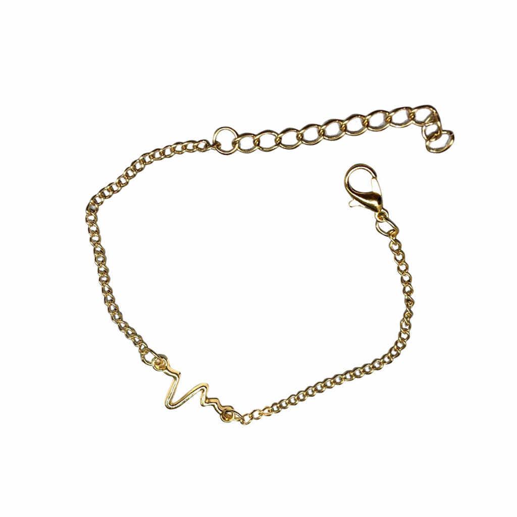 النساء الرجال سوار بوهو سوار مجوهرات مقياس نبض القلب موجة GD سلسلة أساور للأزواج الخلخال الأساور موهير مودا 2019 L0710