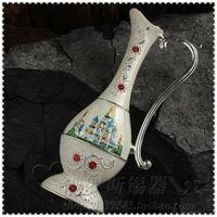 Russian Painted Floral Ornaments Castle Castle Falangcai Vase With Handle Home Decoration