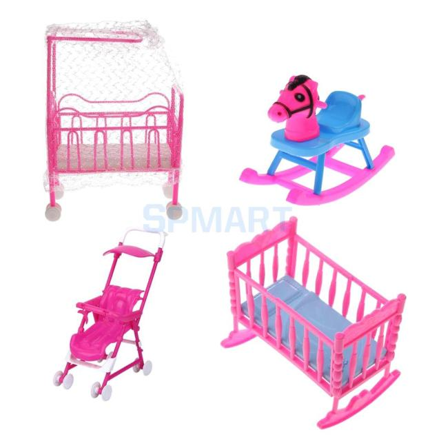 1 Set Pink Plastic Bedroom Furniture For Barbie S Sister 10cm Dolls