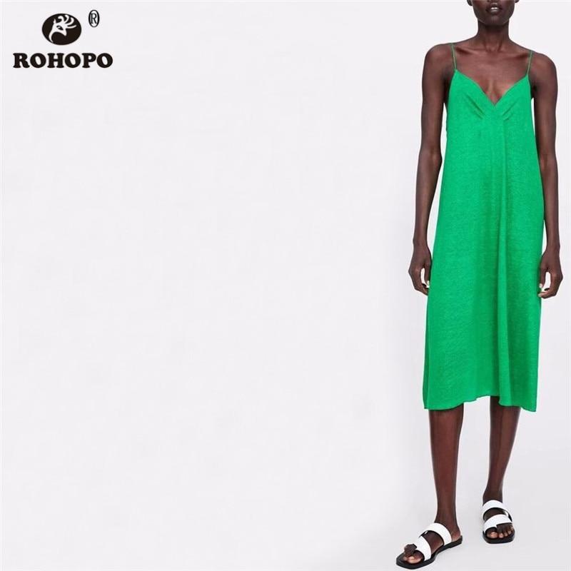 ROHOPO Women Spaghetti Strap Midi Dress Summer Casual Green Pleated Cotton Solid Sexy Sleep Dresses #AZ9284