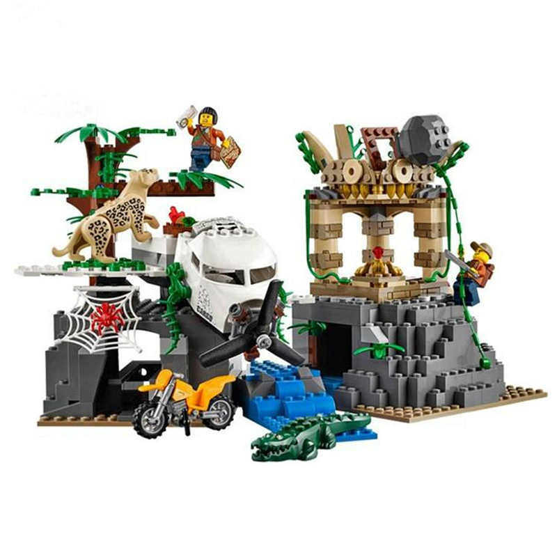 02061 LEPIN City Jungle Exploration Raiders of the Lost Ark Model Building Blocks Enlighten Toys For Children Compatible Legoe compatible city lepin 02005 889pcs the volcano exploration base 02005 building blocks policeman educational toys for children