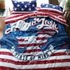 America Flag Style USA Bald Eagle Bedding Set Queen Size Duvet Cover Bedsheets Pillowcase Cotton Fabric