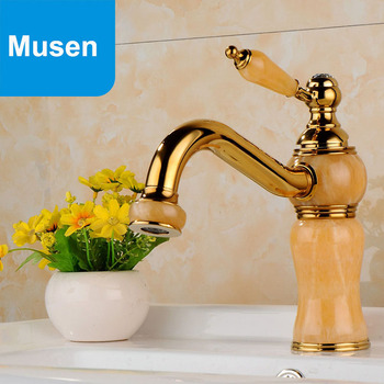 Europe Antique Golden With Marble Finishing Bathroom Sink Tap Luxury Faucet