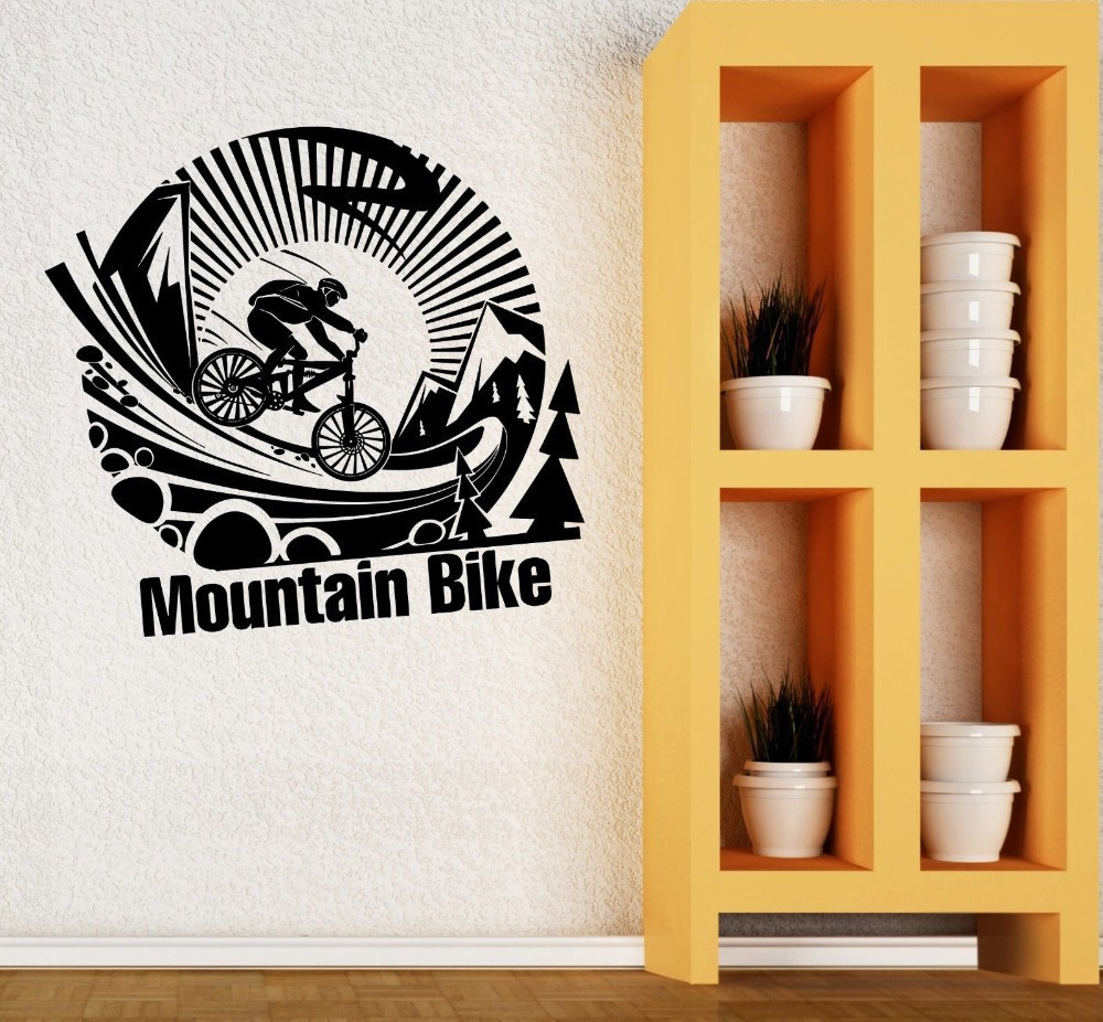 Creative mountain bike wall stickers quotes bicycle wall decal creative mountain bike wall stickers quotes bicycle wall decal removable vinyl diy modern home decor for walls boys bedroom in wall stickers from home amipublicfo Choice Image