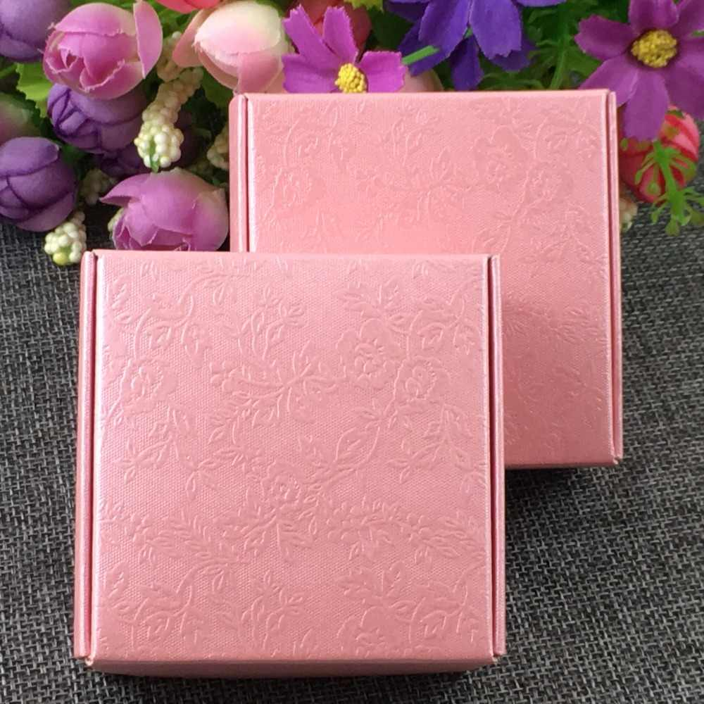 20pcs pink rose  Paper box Gift Box for Wedding Jewellery Wedding Package Small Craft Paperboard Jewelry Boxes Packaging