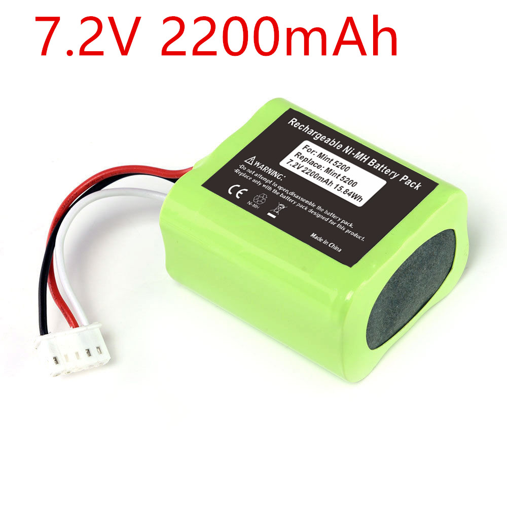 7.2V 2200mAh Ni-MH Replacement Battery Pack for iRobot Mint 5200 5200B 5200C Braava 380t Floor Cleaner цена