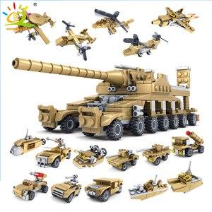 Image 1 - Huiqibao 544Pcs 16 In 1 Militaire Wapens Super Tanks Bouwstenen Assemblage Sets Educatief Bricks Speelgoed Voor Kids Kinderen