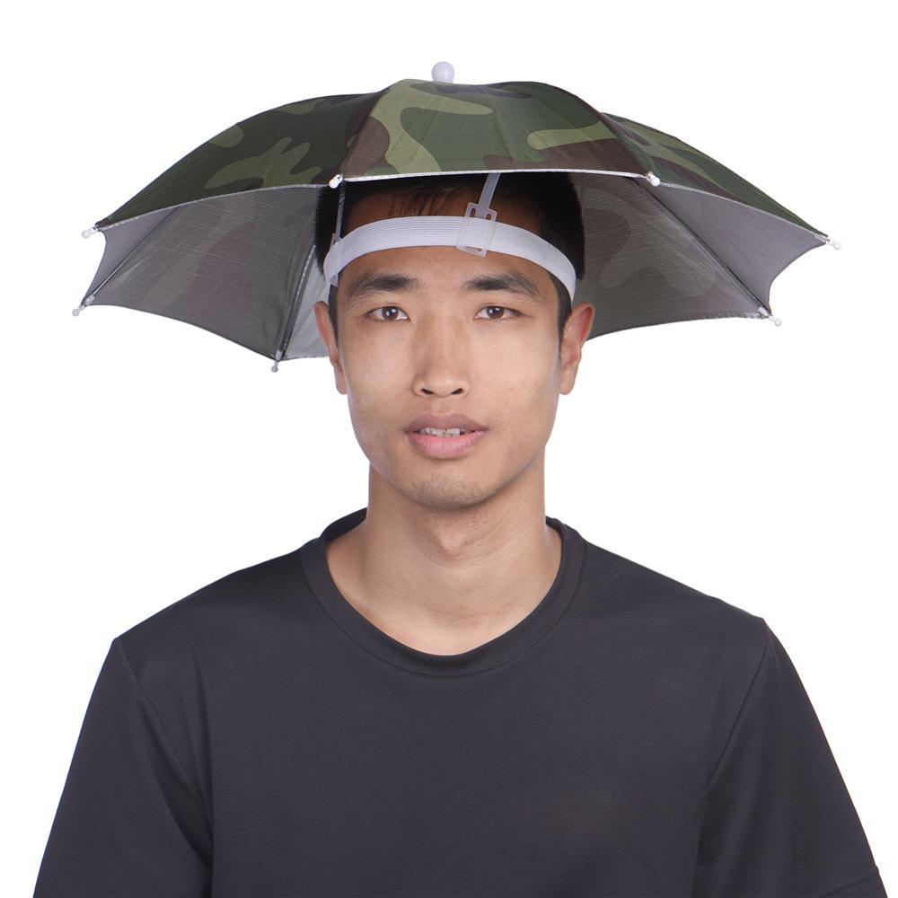 Rain Gear Head Umbrella Hat Cap For Out Door Camping Traveling Foldable Umbrellas Fishing ...