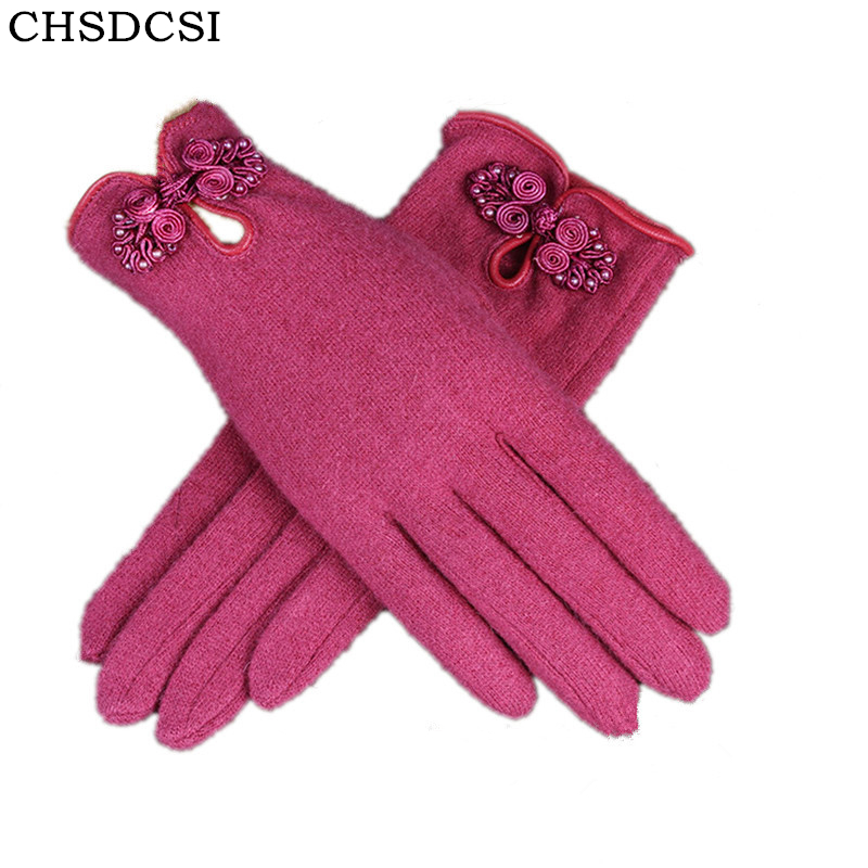 2017 new fashion wool gloves high quality with Chinese knot pure color women winter warm soft frabic female mittens glove G085