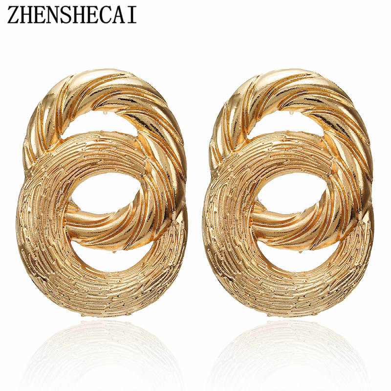 Vintage Earrings for women gold color Geometric statement earring 2019 retro metal earing Hanging fashion jewelry trend Brincos