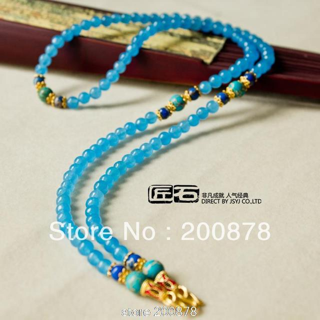 Lanyards enamel buckle blue chalcedony chain necklace lady beads necklace summer gift Thai Pendants Chains