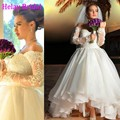 2016 New Fashion Ankle Length Lace Sleeves High Low Wedding Dress Short Front Long Back Brazil Ball Wedding Gowns Trouwjurken