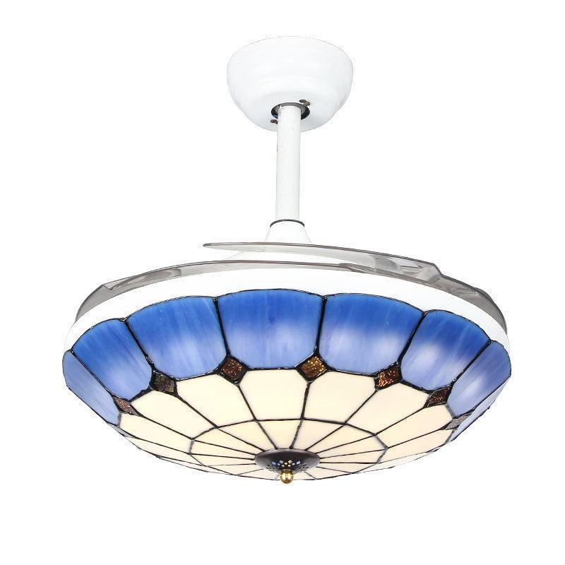36 W Tiffany lampe de ventilateur de plafond bleu multi couleur verre ombre suspension lumière télécommande tiffany luminaire suspendu pack de mousse