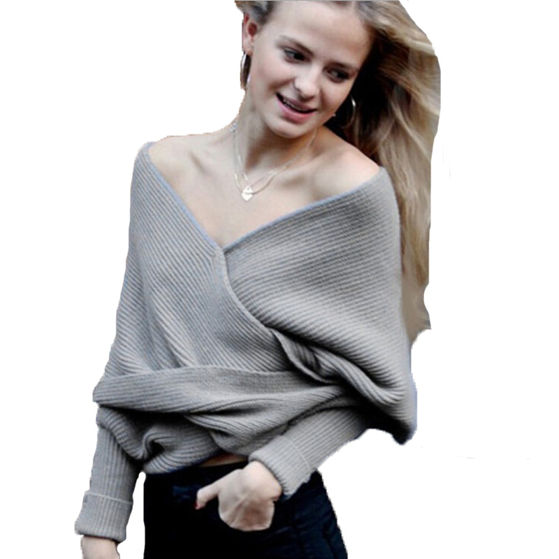 Shawl shrugs for women Long Sleeve Wrap sweater Warm Batwing Knit Scarf  Large lapel Strapless cross Sweater oversized jumpers-in Shrugs from Women s  ... f157338d8