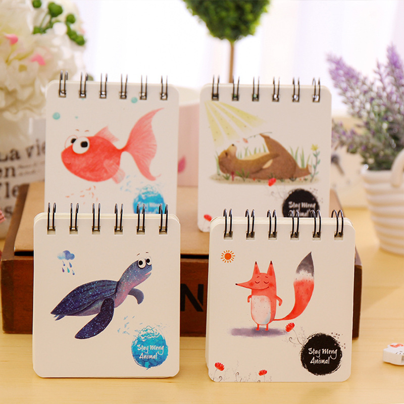 4pcs Stationery Supplies Mini Cartoon Notebook Blank