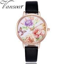 Vansvar Brand Women Fashion Butterfly Flower Watch Rose Gold Wtach Leather Quartz Women Wristwatches Ladies Dress Watches