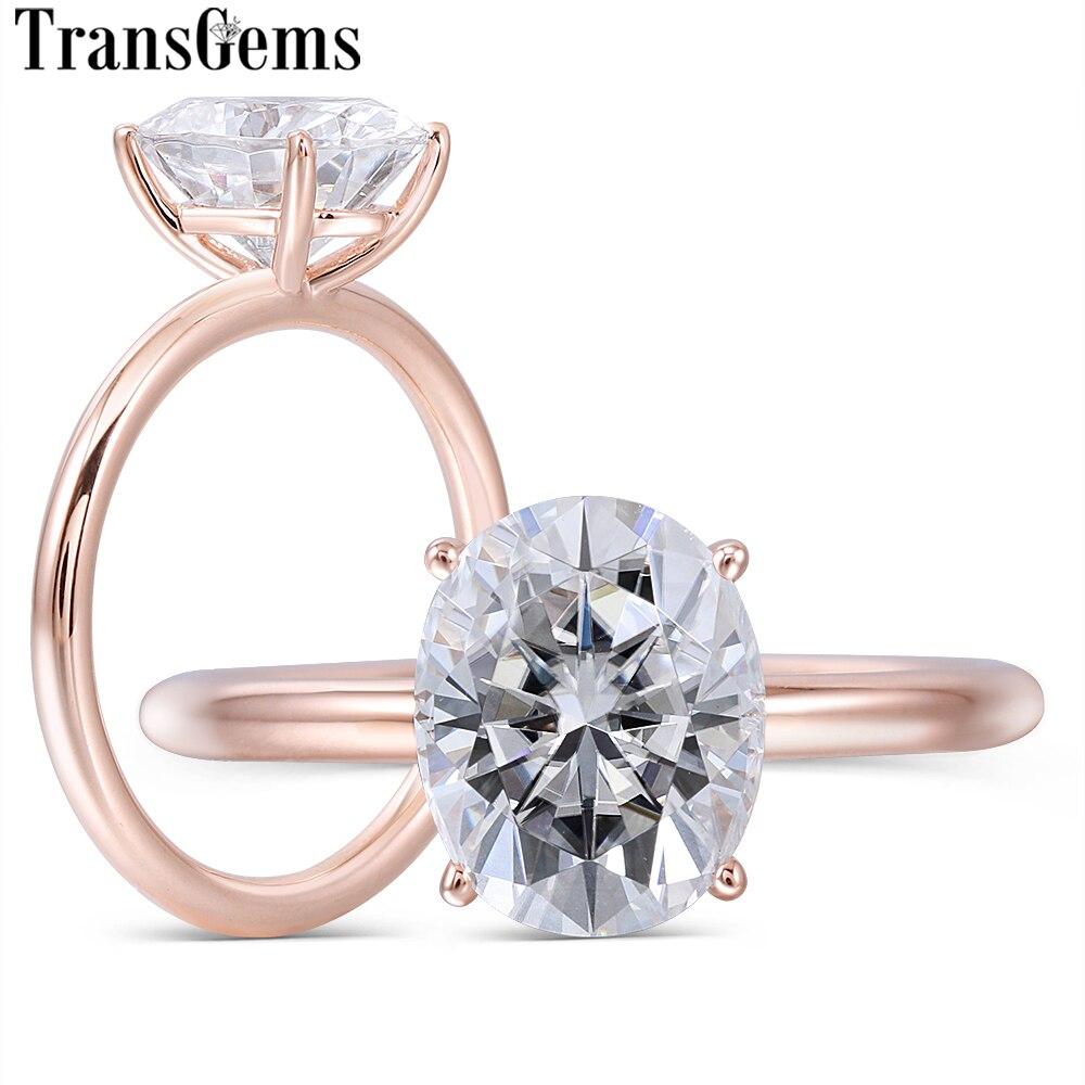 Transgemmes solide 14 K or Rose 3ct 8X10mm FG couleur ovale coupe Moissanite bague de fiançailles pour femmes bijoux de mariage