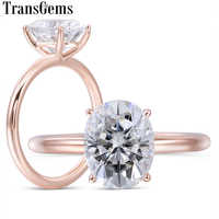 Transgems Solid 14K Rose Gold 3ct 8X10mm FG Color Oval Cut Moissanite Engagement Ring for Women Wedding Jewelry