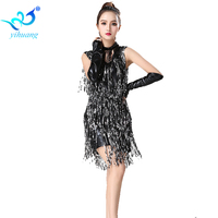 Latin Dance Costume Dress Charleston Competition Dance Dress Sequin Fringe Jazz Dance Performance Stage Show 1920s Flapper Dress