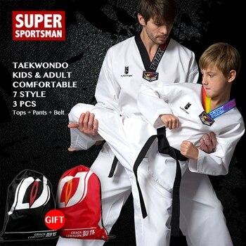 d1fa1b701eec9 Bebek Kız Erkek Tekvando Wtf Yetişkin Erkek Kadın Judo Takım Elbise Çocuk  Karate Üniforma Kemer Çocuk Elbise Eğitim spor giyim Setleri