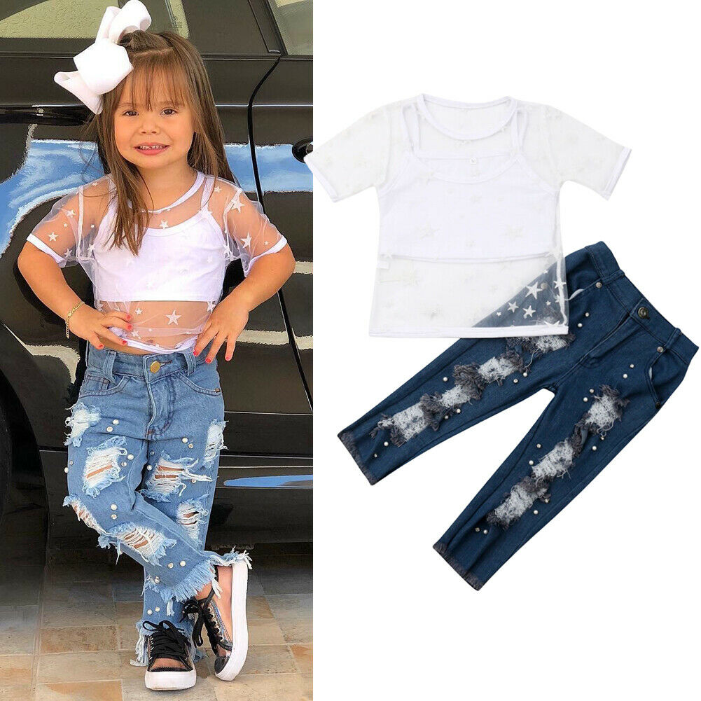 New Kids Girls 1-6Y Fashion Clothes Sets Outfits Short Sleeve Mesh T-shirt & Tank Tops+ Denim Pants Holiday