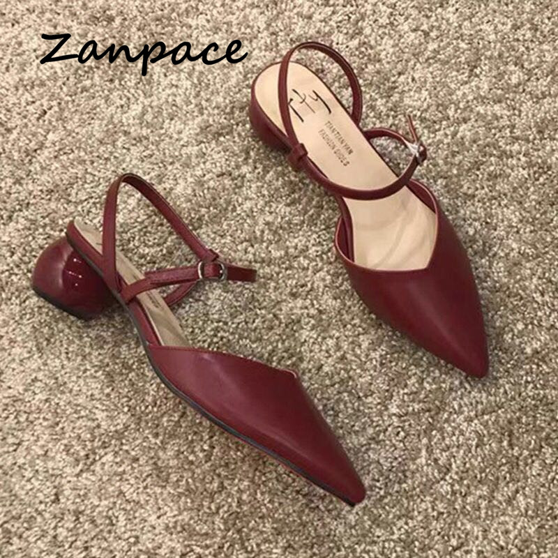 2020 Summer Buckle Women Sandals Pointed Hollow Thick With High Heels Women's Shoes Gladiator Fashion 4CM Round Heels Sandals