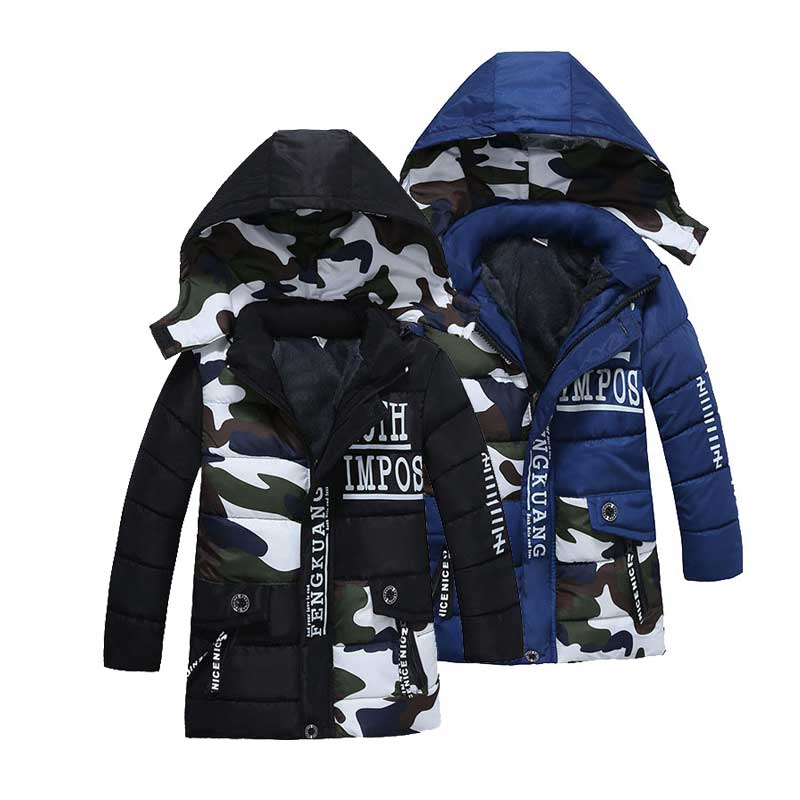 2-5T Kids Hooded Coats Baby Boys Clothes Letter Print Winter Wear Camo Boys Clothing Down Long Sleeve Jackets Fashion Outerwear letter print raglan hoodie