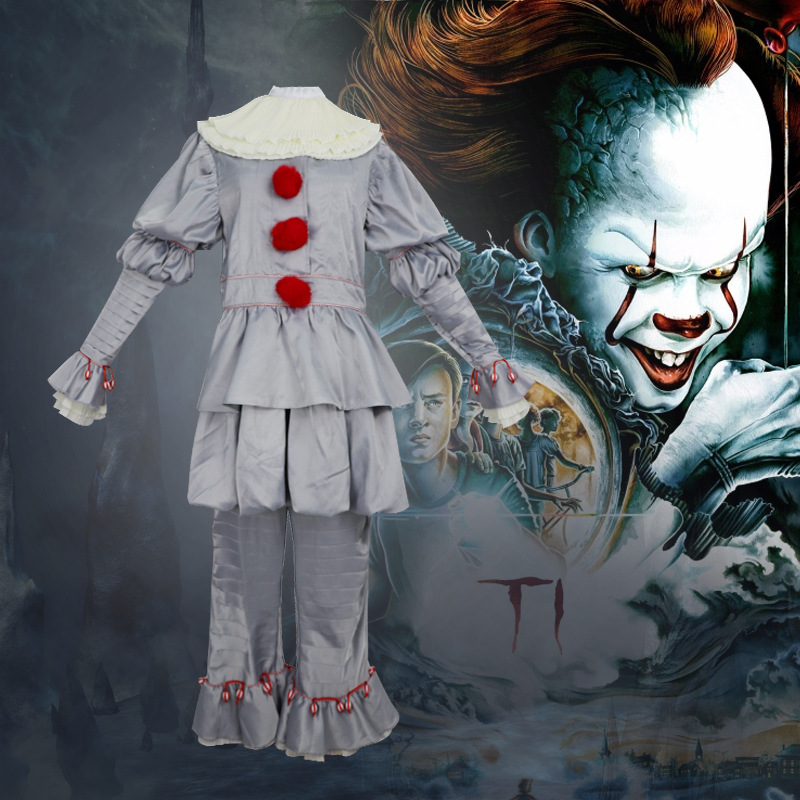 Horror Movies Stephen Kings IT Adult Men Women Clown costume suit Custom made fancy Pennywise dress  Halloween Cosplay Costume