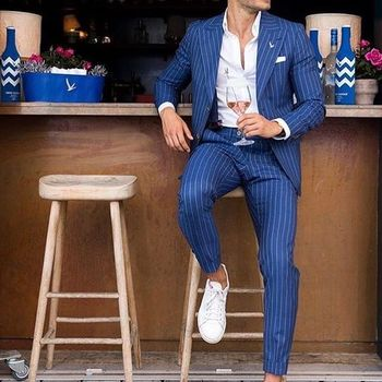 Classic Striped Smart Casual Business Blue Men Suits 2 Piece Formal Party Prom Blazer Wedding Groom Tuxedo Costume Homme Mariage