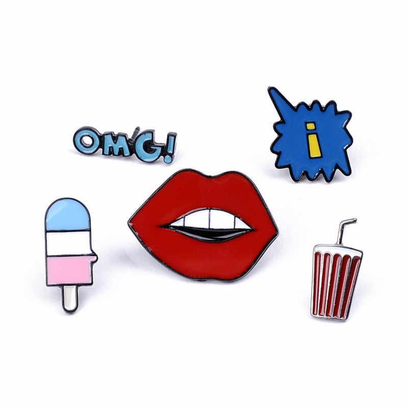 Мультфильм красные губы лед для напитков крем Брошь для женщин креативное джинсовое платье куртки сумка значок эмалированные броши аксессуары ювелирные изделия