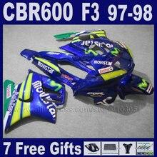 ABS customize free fairings blue for Honda 97 98 CBR 600 F3 1997 1998 CBR600F3 fairing kits black motorbike fairing