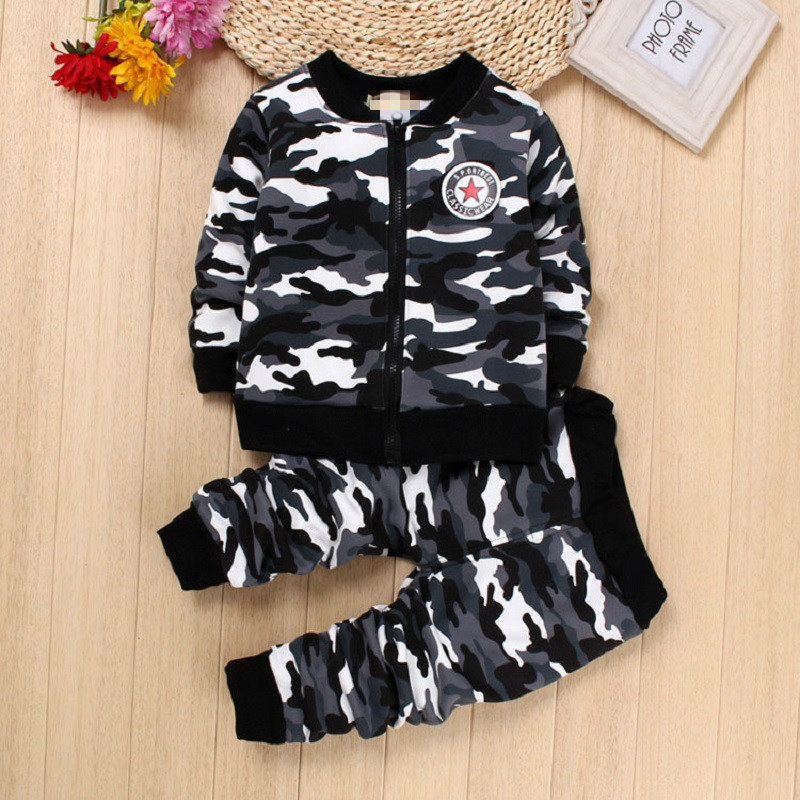 Winter Kids Baby Boys Girls Military Camouflage Clothing Sets Coat Trousers Infant Child Clothes Suits Outfits 2-5T