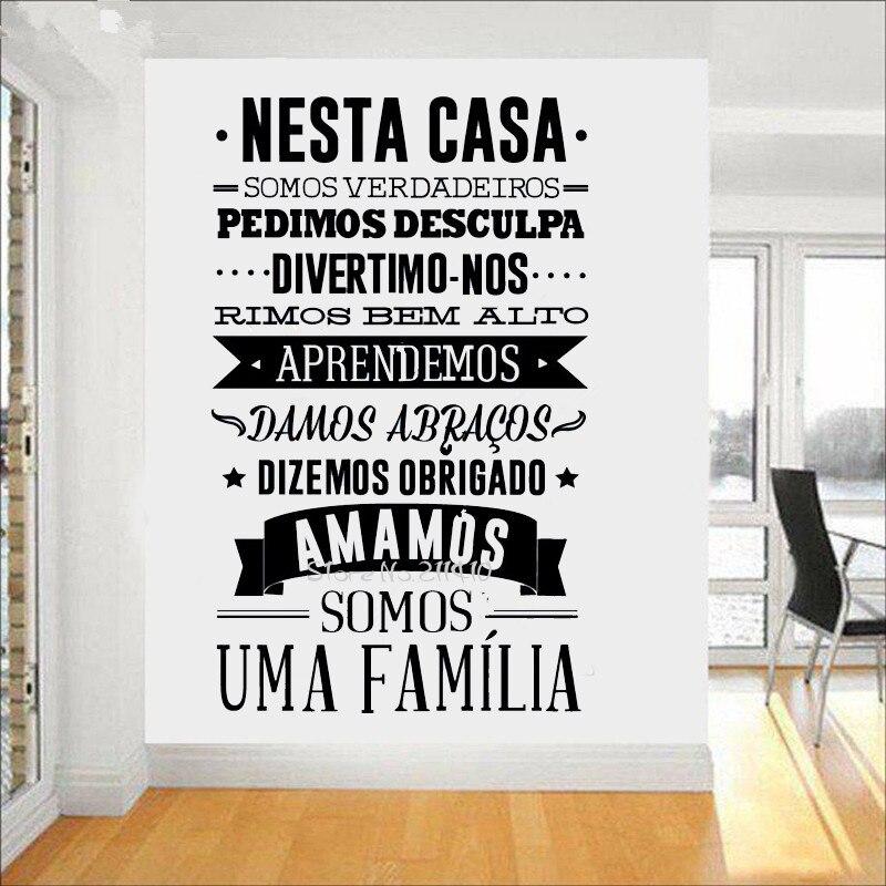 Home Decoration sticker of Portuguese house rules Wall Sticker Portuguese Version large Wall Decals Nesta Casa em Vinil Autocola