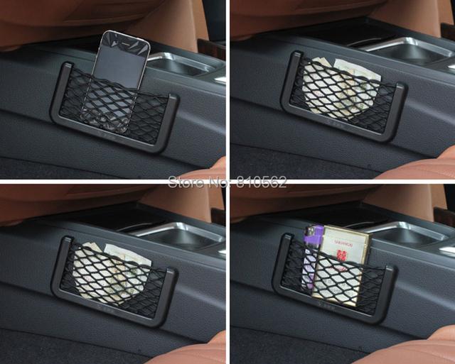 Vehienlar malla de red del bolso del teléfono celular del coche del bolsillo del bolso compartimiento de almacenamiento bolsa red caja de almacenamiento para golf focus Clio IV Aqua alto