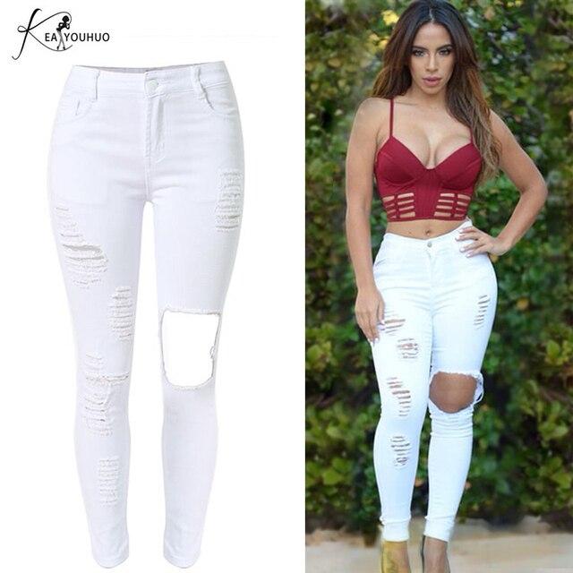 faa23cc16b7e8 Nouveau 2017 Été Femelle Blanc/Noir Pantalon Trou Déchiré Jeans femmes  Jeggings Taille Haute Denim