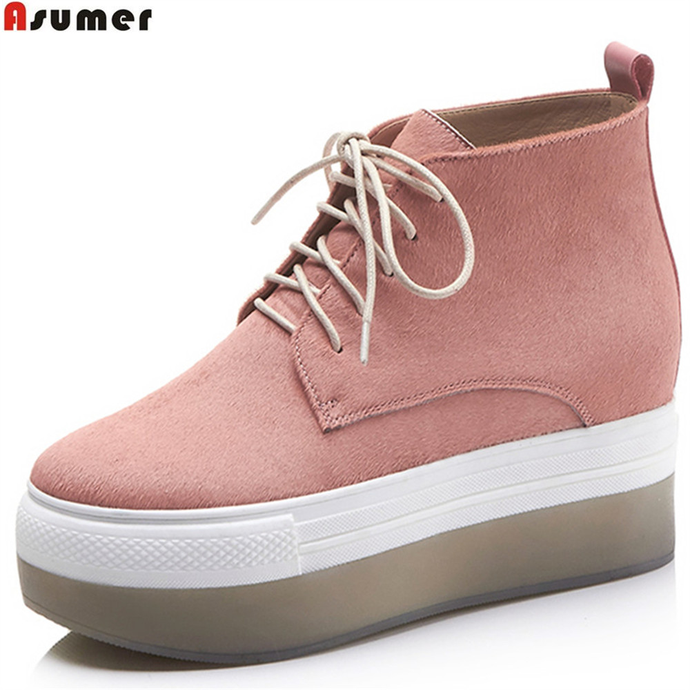 ASUMER black pink fashion spring autumn new shoes woman boots round toe lace up platform horsehair high heels ankle boots asumer pink silvery round toe lace up spring autumn ladies single shoes platform women genuine leather high heels shoes