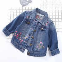 Nouveau style brodé filles décontracté denim veste haut tendance qualité enfants vêtements décontractés filles mignonnes fleur manteau 17A801