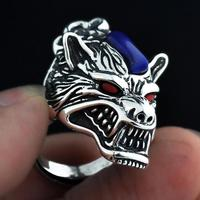 Solid 925 Sterling Silver Rock Punk Wolf Head Biker Rings For Men With Red Stone Natural Onyx Lapis azuli Cool Animal Jewelry