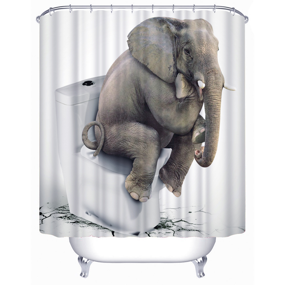 3D Elephant Thinkers Polyester Shower Curtain Anti-rust Curtain For Bathroom With hook Two Size