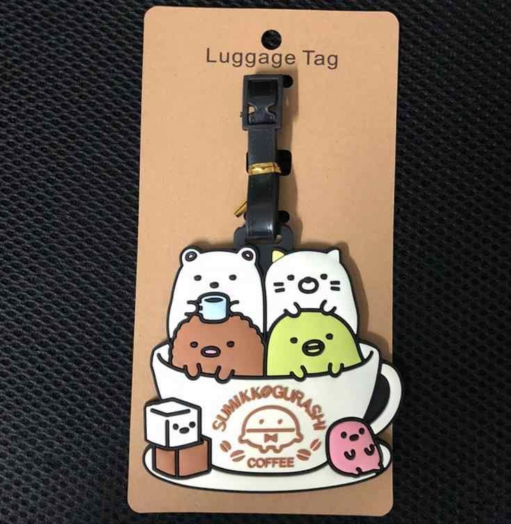 1Pc adorável Japonês Animação Sumikko Gurashi Etiquetas de Bagagem Acessórios de Viagem Bagagem Tag Nome Endereço Tel brinquedos Figura presente