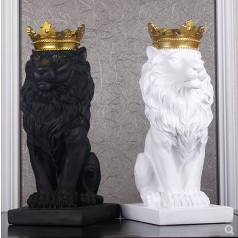 Nordic beautiful crown lion resin figurine with ornament home decoration crafts mascots modern office Desktop figurines sculpturNordic beautiful crown lion resin figurine with ornament home decoration crafts mascots modern office Desktop figurines sculptur