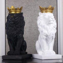 Nordic beautiful crown lion resin figurine with ornament home decoration crafts mascots modern office Desktop figurines sculptur(China)