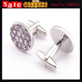 Luxury Oval Silver Plated Flower Cuff Link White Metal Purple Puzzle Epoxy Stainless Steel Pattern Cufflink for Man Jewelry Gift