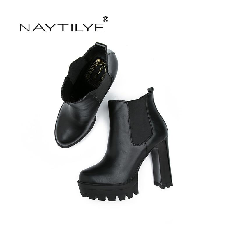 16c2ec8a44 De salto alto botas de couro ECOLÓGICO PU Slip On Ankle Boots para a mulher  preto cor Azul tamanho 36 41 Dedo Do Pé Redondo Básico Frete grátis NAYTILYE  em ...